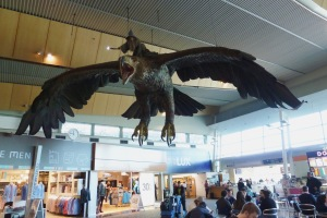 The amazing eagle from Weta Workshop who greets passengers at Wellington Airport